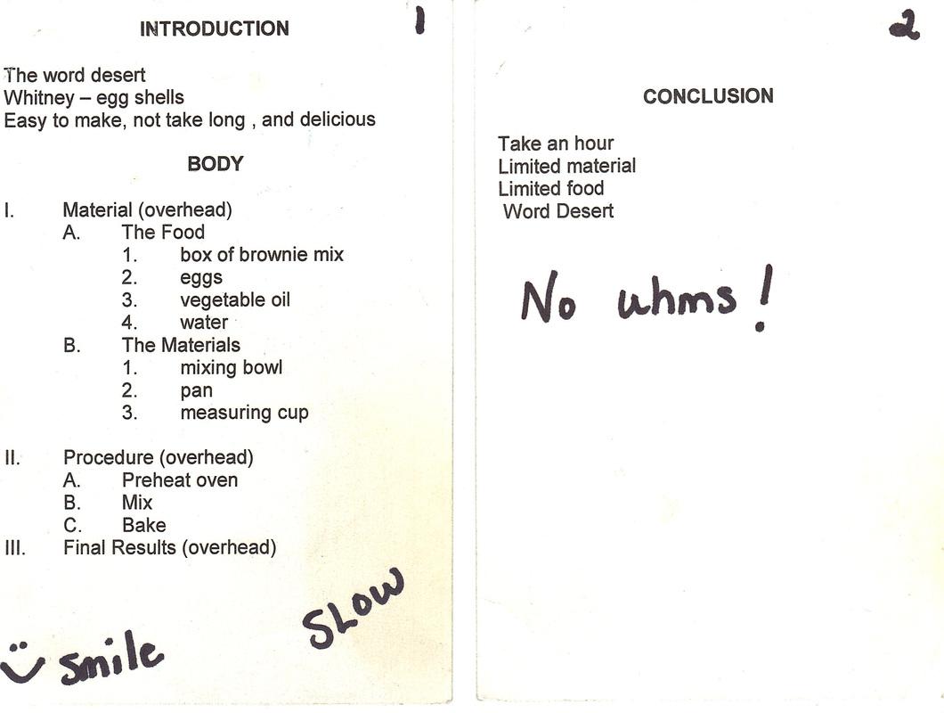 Note Cards Key Word Outline Fundamentals Of Speech Communication Com 1100